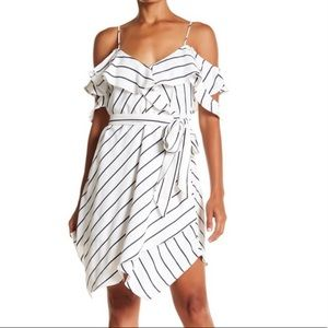 Kendall & Kylie White and Navy Pinstripe Dress